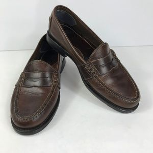 HH Brown Double H Shoes Mens 9.5 Loafers Leather